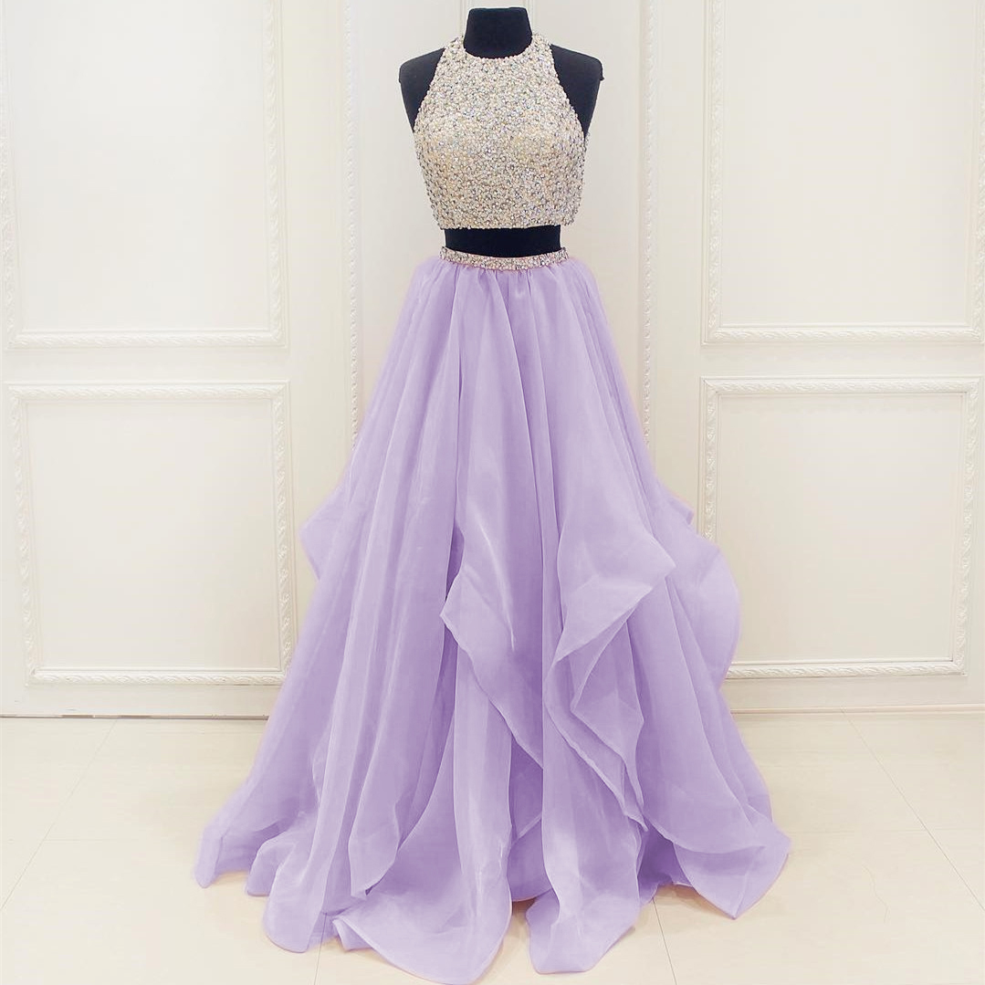 Sleeveless Prom Dress,Two Pieces Evening Dress,Long Prom Dresses ...
