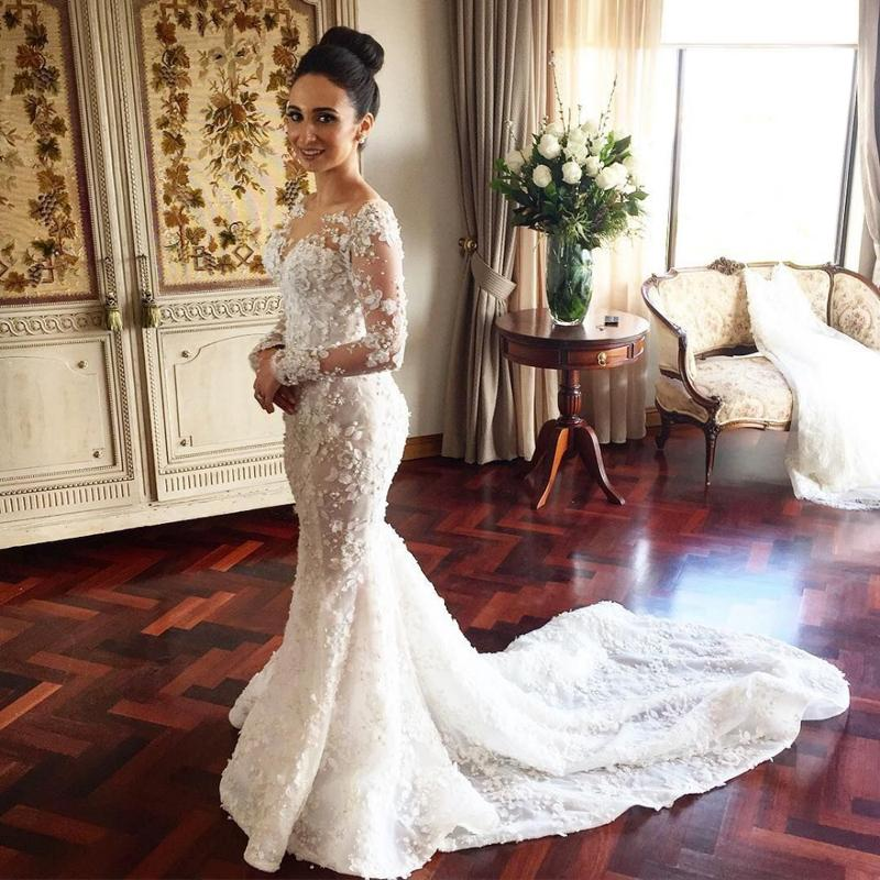 82bf5ea6473 Floral Bridal Dress with Long Sleeve