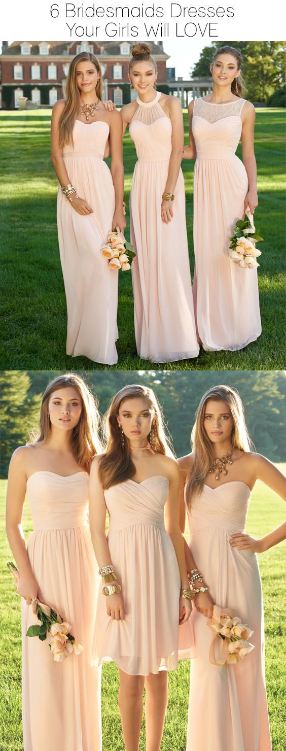 Wedding Bridesmaid DressesA Line Long Chiffon Simple Elegant Pink DressLong