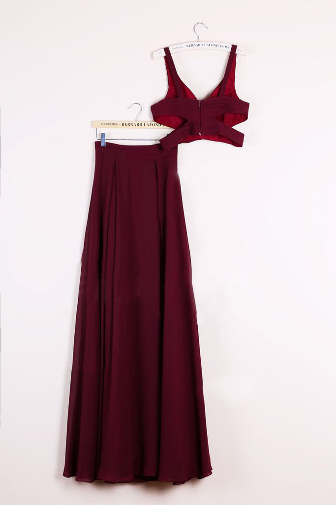 Sexy Two Piece Prom Dresses 2 Piece Homecoming Dresses Burgundy