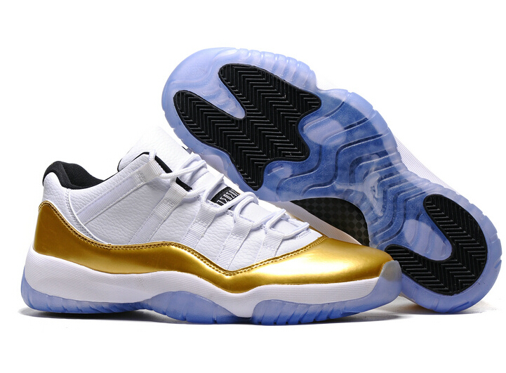 """4f8df237e0f046 2017 Cheap Air Jordan 11 Low """"Olympic"""" White Metallic Gold Coin-Black For Sale  on Storenvy"""