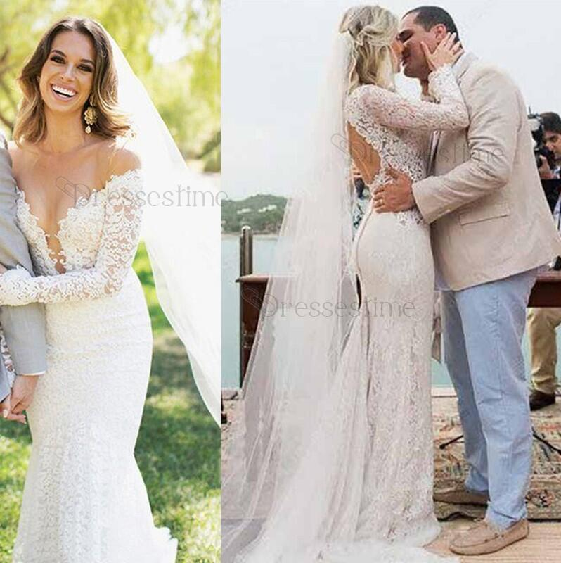 61698d65eff7 Sexy Lace Mermaid Wedding Dress,Off-the-Shoulder Lace Long Sleeves Open  Back Bride Dress on Storenvy