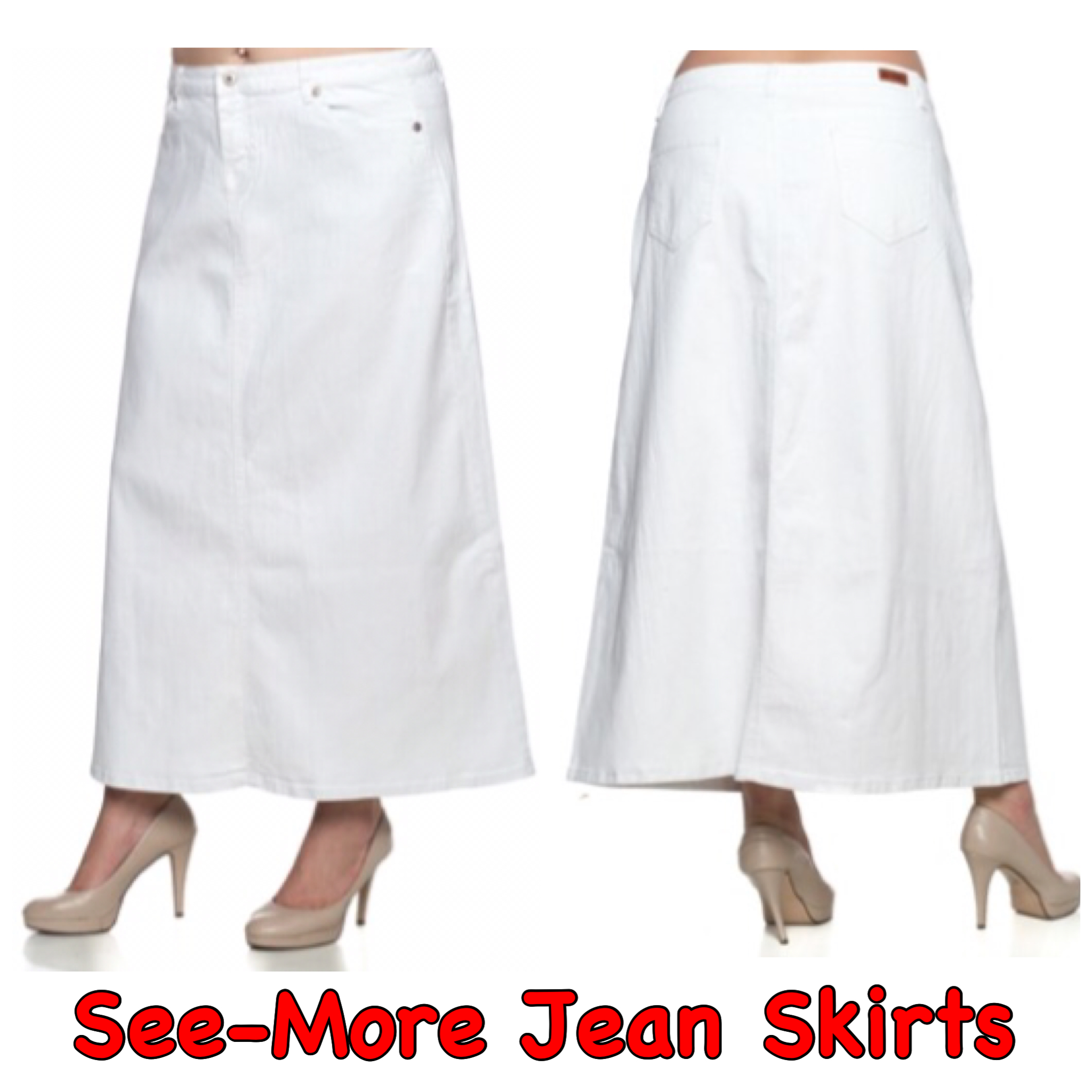 latest style save up to 80% variety design WHITE LONG DENIM SKIRT from See-More Jean Skirts