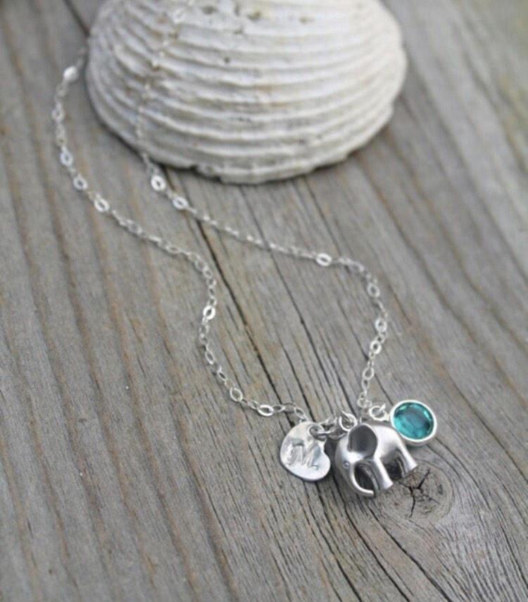 4bc659dc1ae93 Silver Elephant Birthstone Initial Heart Charm Necklace - Birthstone  Jewelry/Bridesmaid Gift/Mama Jewelry/Initial Necklace/