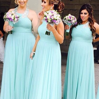 9c50bd0534 New simple long bridesmaid dresses chiffon halter neck prom dresses maid of  honor party gowns for