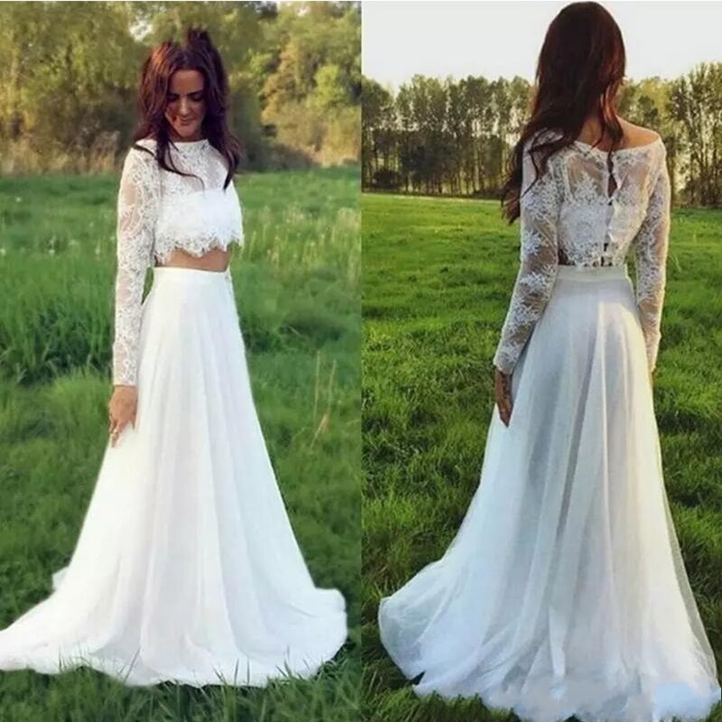 cc1247d02ffd wedding dresses 2017,New Bohemian Lace Beach Wedding Dresses Scoop Neck  Long Sleeve Summer Garden