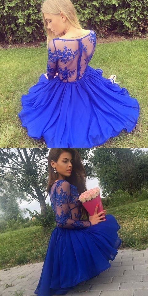 0e709289c4d A-Line Deep V-Neck Long Sleeves Royal Blue Chiffon Short Homecoming Dress  with