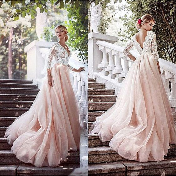 Blush Wedding Dress.Blush Tulle A Line Long Tulle Lace Formal Long Dress Blush Wedding Dress Blush Gown Color Wedding Dress Blush And White Gown From D2m Fashion Shop