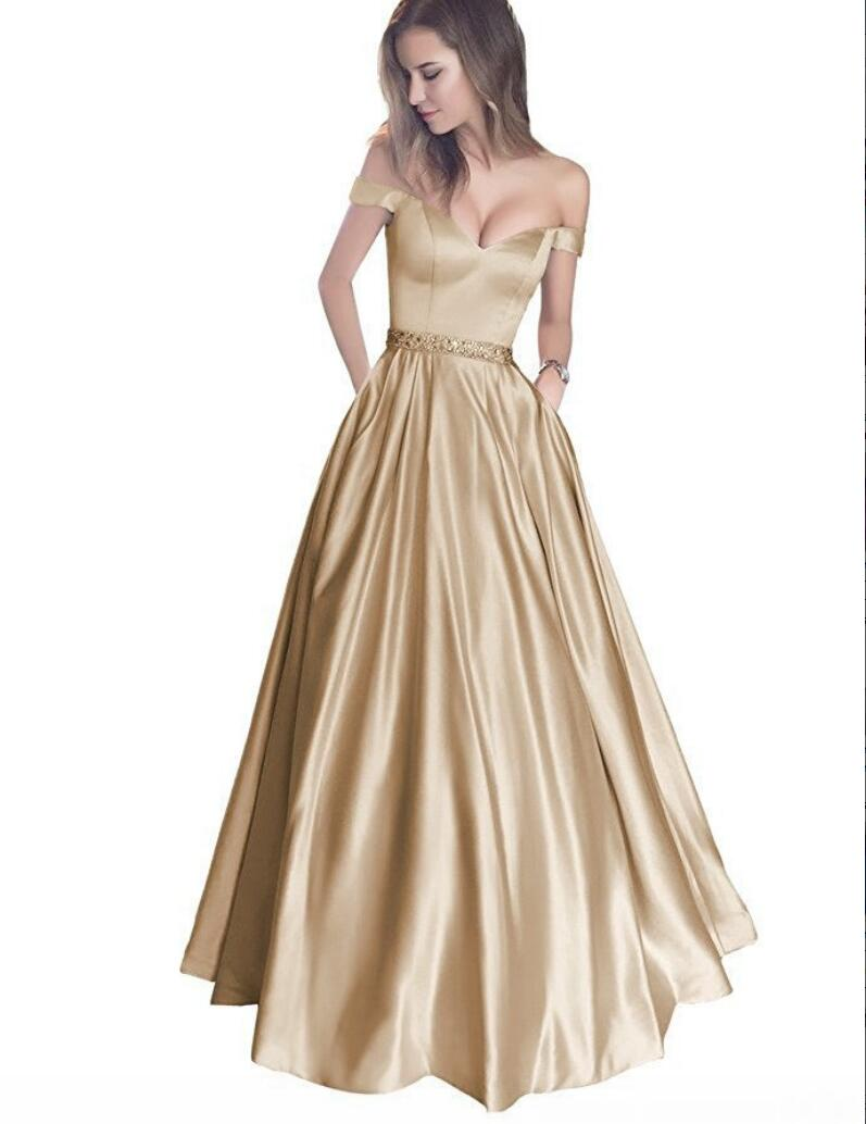 Champagne Satin V Neck Long Prom Dresses,Ball Gowns Off The Shoulder ...