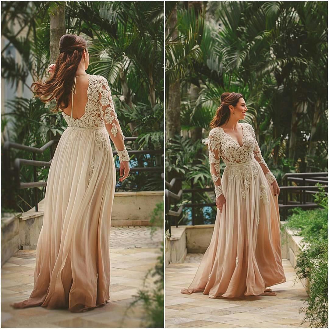 chiffon champagne long sleeve lace evening dress,long sleeves ...