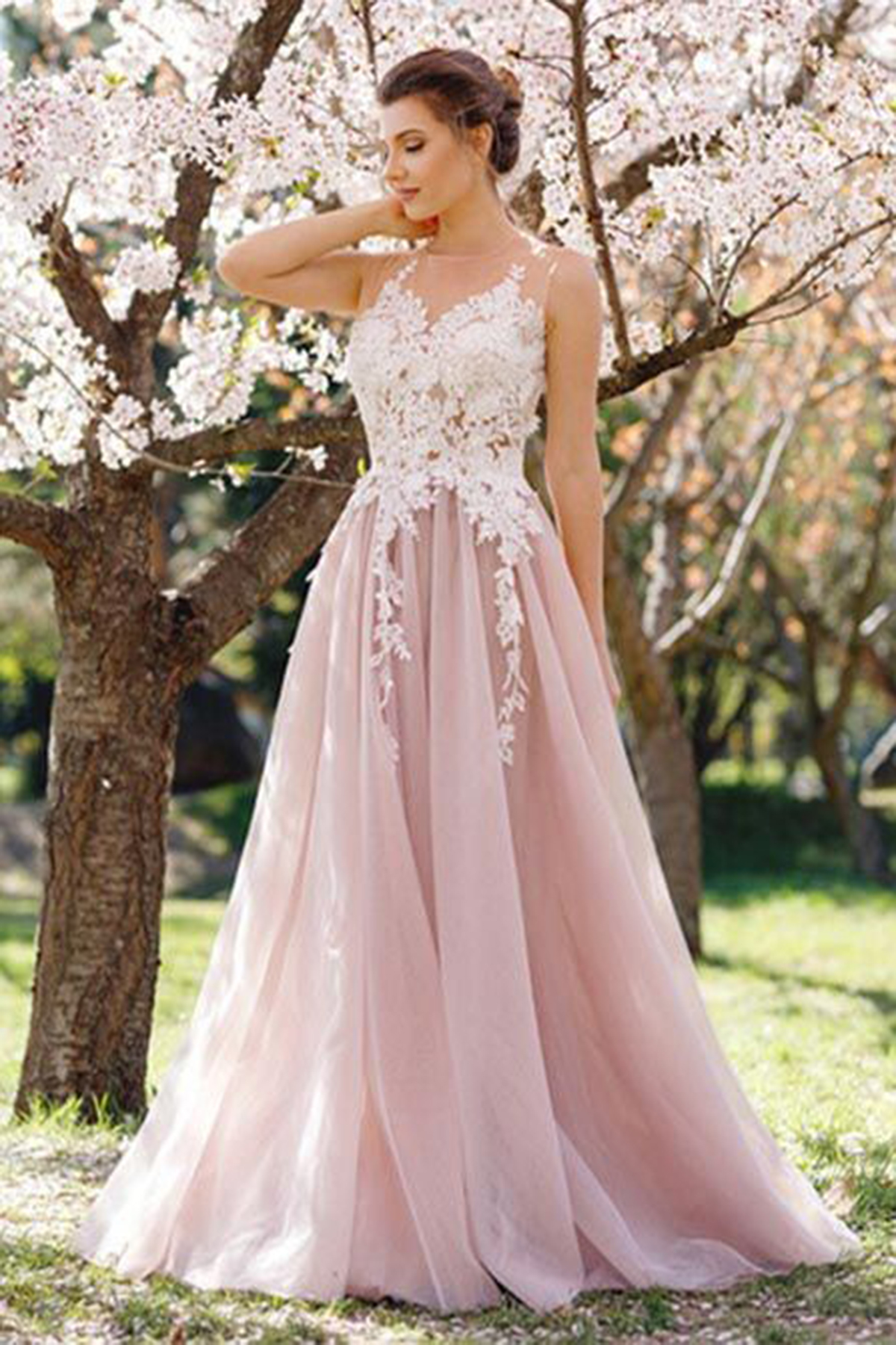 d095711e8c3 Cheap Prom Dresses by SweetheartDress · Stylish blush pink lace ...