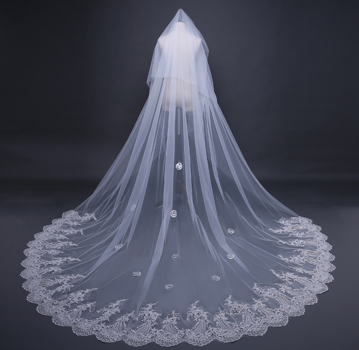8565a34146 Cathedral Lace Tulle Bridal Veil Wedding Veil FF016 · Onlyforbrides ...