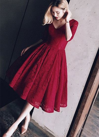 69f49a6d6d4f Burgundy Tea Length Lace Half Sleeves Modest Vintage Homecoming Dresses,For  Teens
