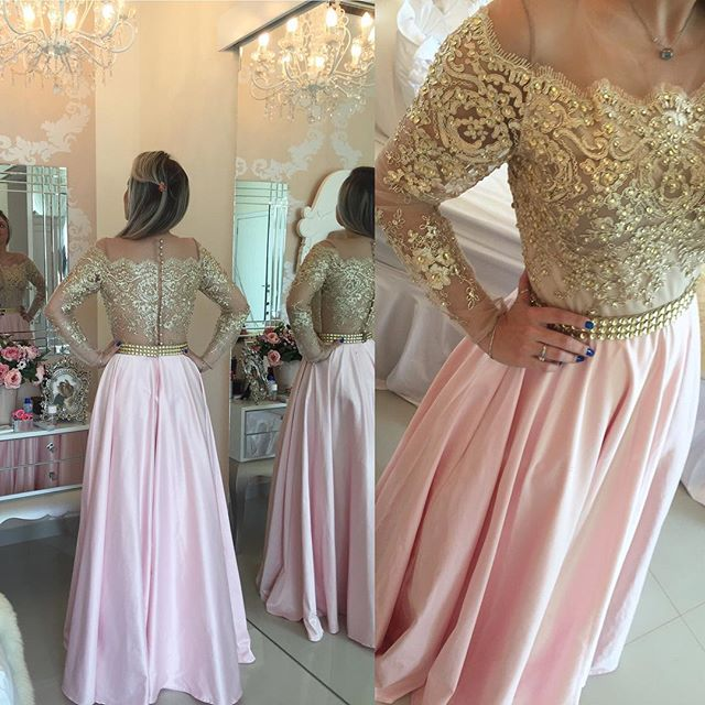 3d74e738938 ... Gold Beaded Coral Illusion Off Shoulder Lace Prom Dress - Thumbnail 3