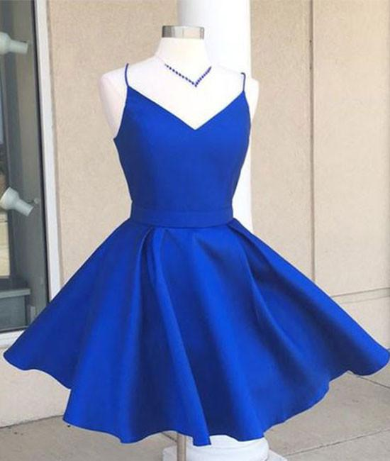 bec977ea047 Simple V-Neck A-Line Royal Blue Homecoming Dress with Bow on ...