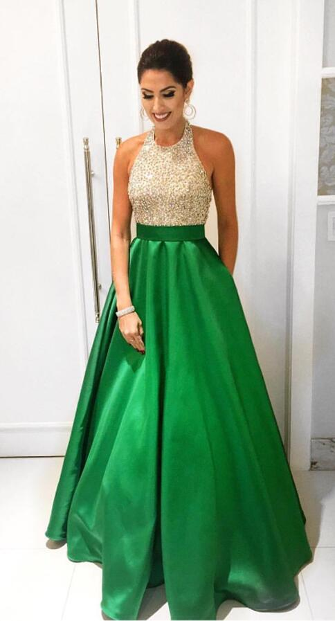 fd14d55e3cfe Halter Ball Gown Prom Dress ,Champagne Green Prom Dresses,Beaded Bodice Backless  Prom Gowns