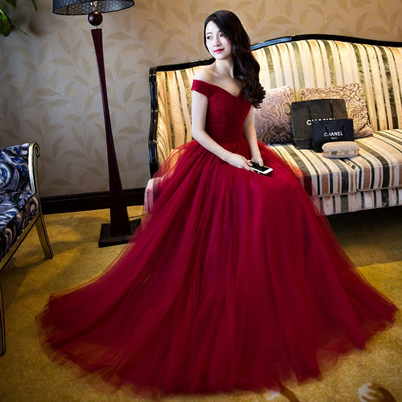 715e31e86 A222 Off Shoulder Red A line Evening Prom Dresses, Long Tulle Party Prom  Dress,
