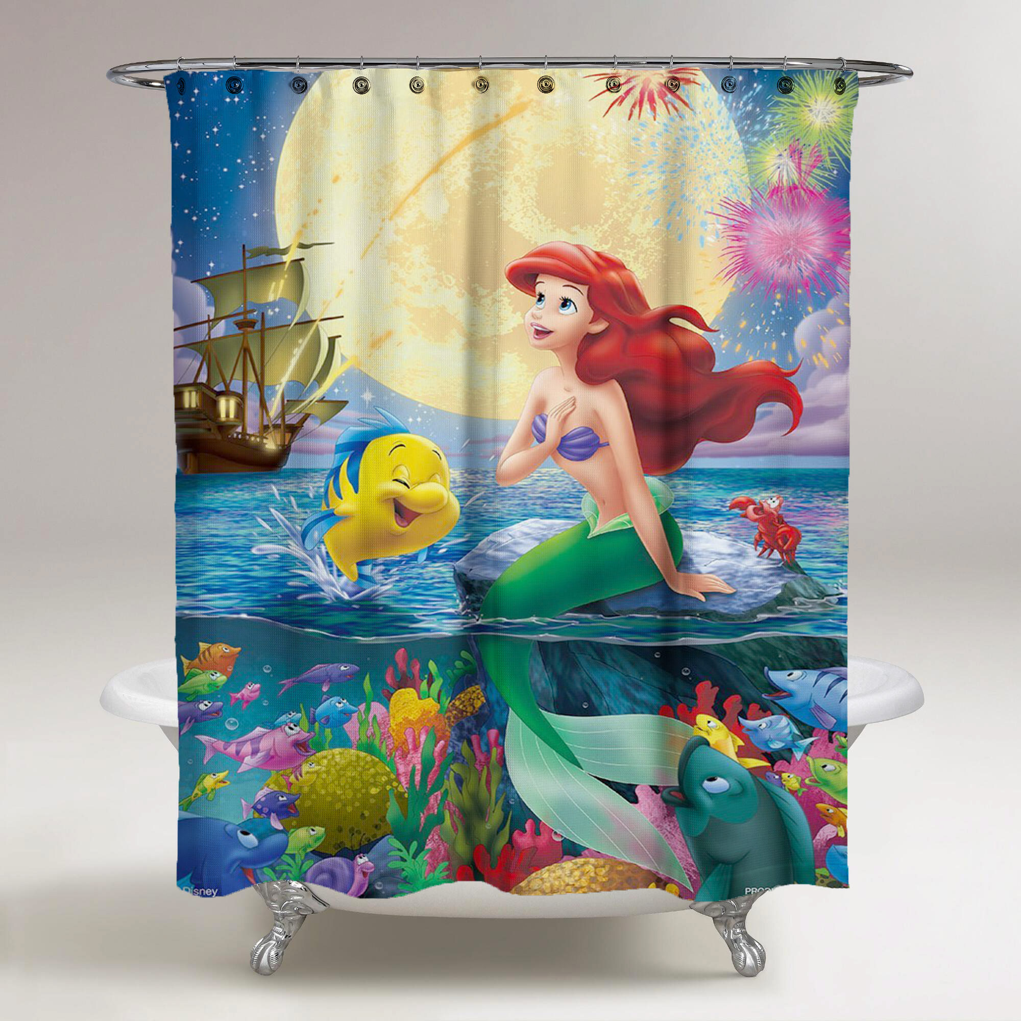 Little Mermaid Playing With Fish Disney Custom Shower Curtain Print On Sold By Ooreedoo