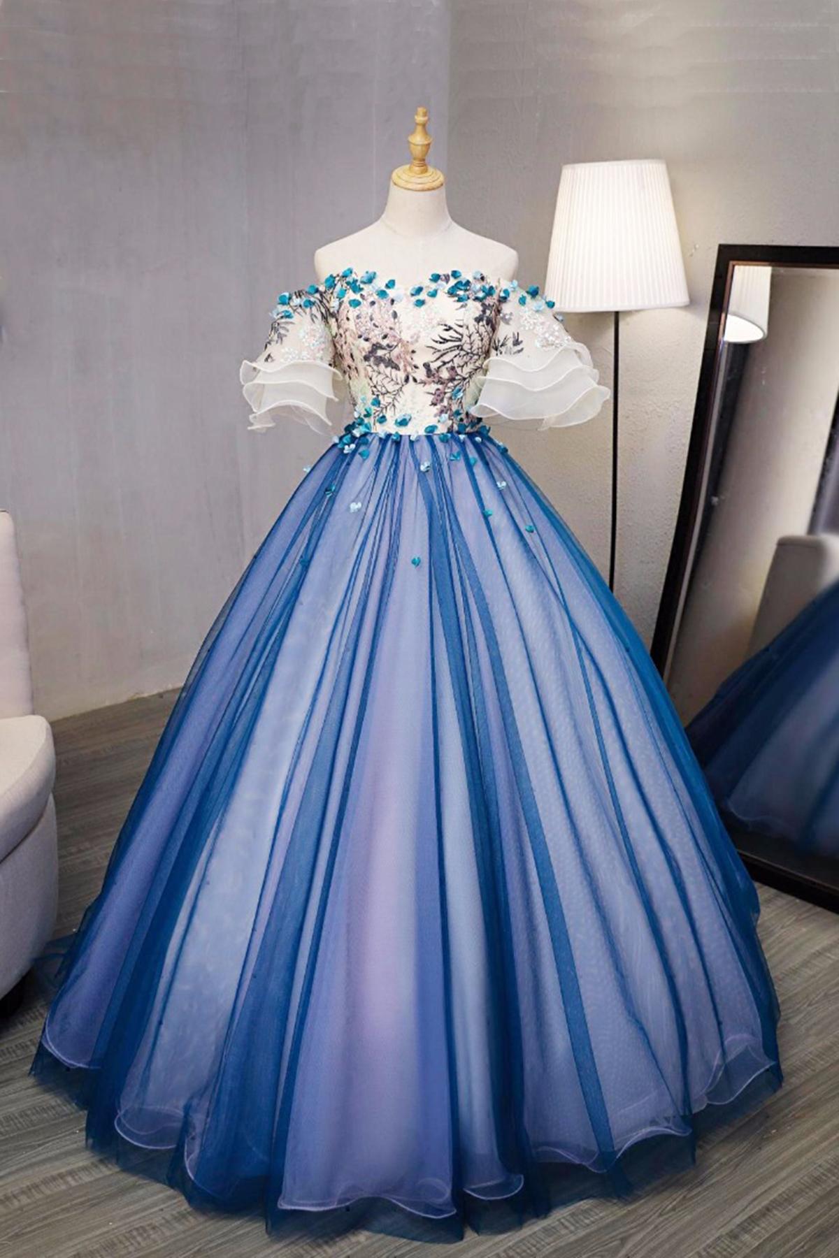 New design blue tulle swetheart long prom gown, short sleeves 3D ...