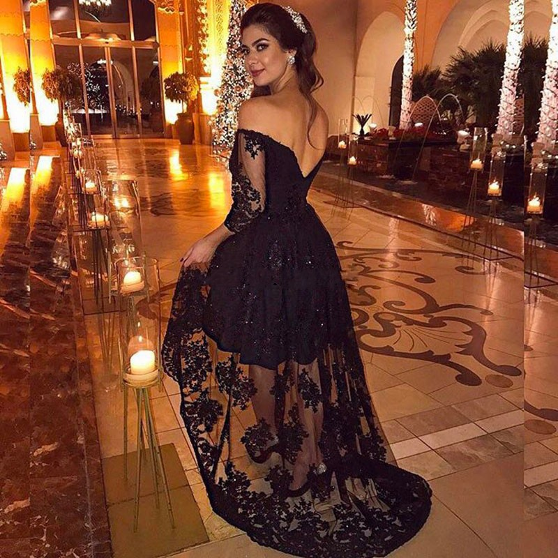 0a00de18ae A131 Sexy Black High Low Off the Shoulder Prom Dresses Three Quarter Sleeve  Lace Appliques Asymmetrical Party Gowns Black Evening Dress on Storenvy