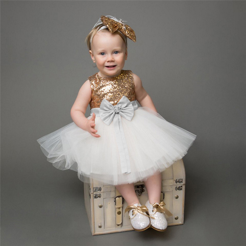 Kids Baby Girl Princess Sequins Bow Knot Christening Pageant Birthday Tutu Dress Toddler Wedding