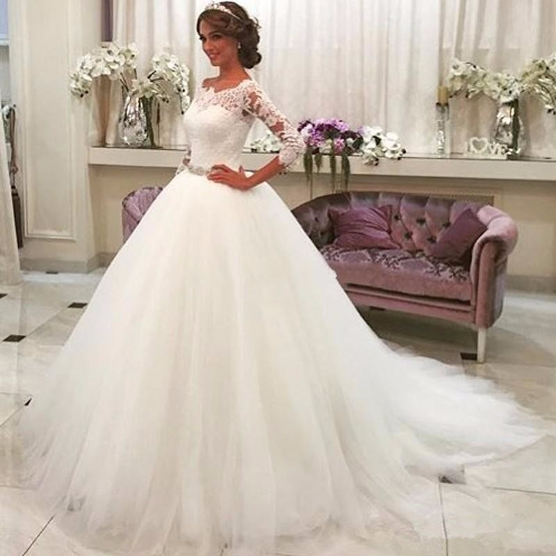 A428 Wedding Dress, Wedding Dresses, One Boat Neck Neck Long Sleeve ...