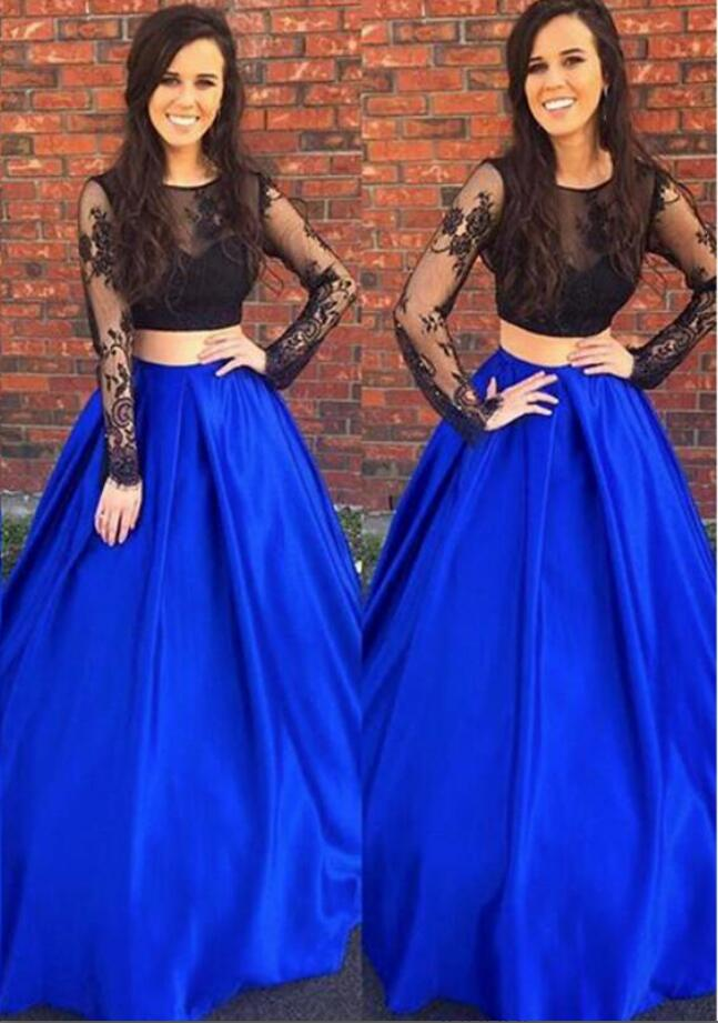 04f82fc8a6f Black and Royal Blue Two Piece A Line Long Lace Prom Dresses with Long  Sleeves