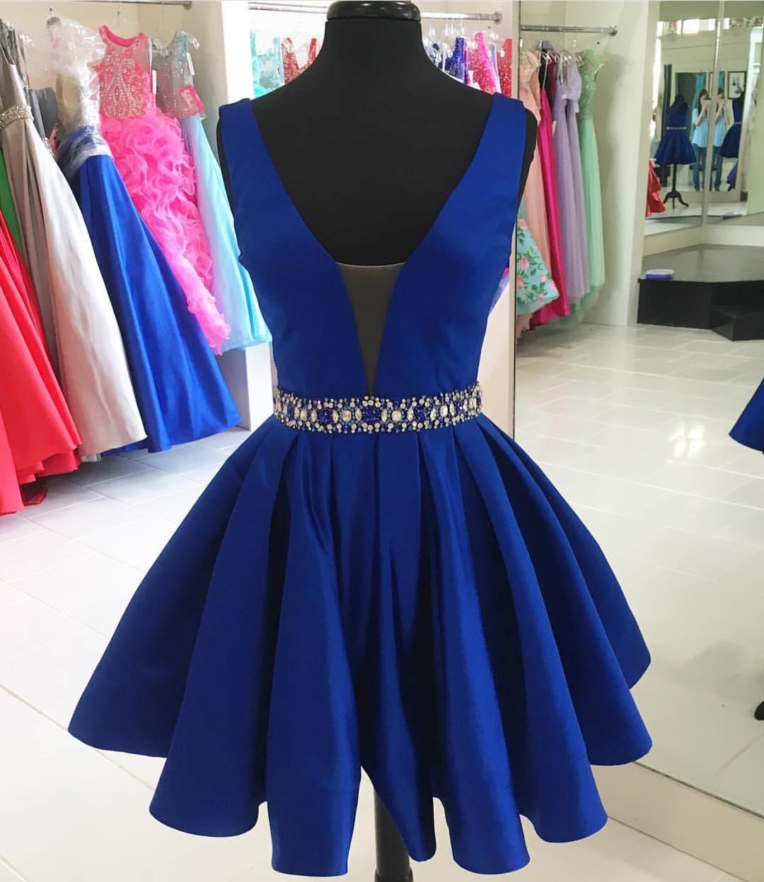 d6d24a553e High Fashion A-Line V-Neck Royal Blue Short Homecoming Dress with ...