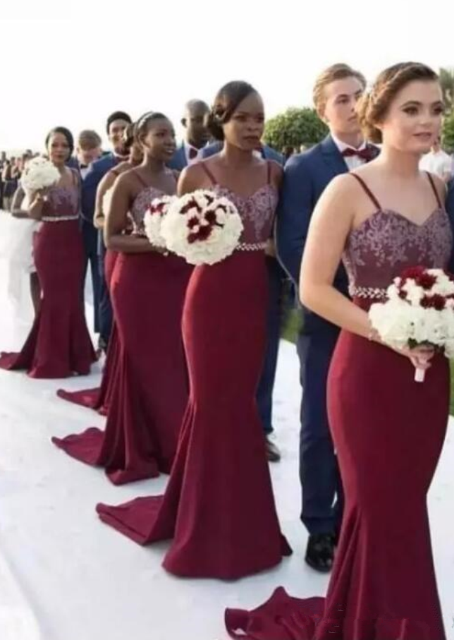 1e85a1e2f7a Spaghetti Burgundy Mermaid Bridesmaid Dresses