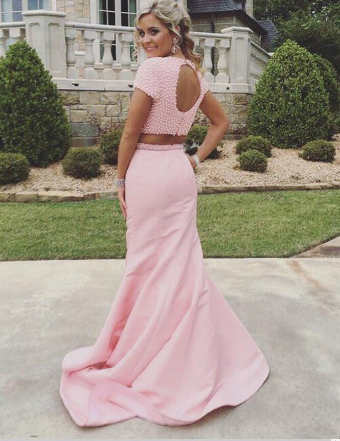 47d94f7754d Two Piece Jewel Sweep Train Open Back Mermaid Pink Prom Dress with Pearls