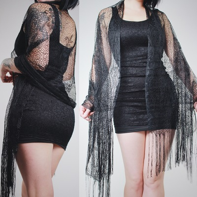 d9f26b6edc Claimed @vividvamp - vintage 70s black lace fringed shawl