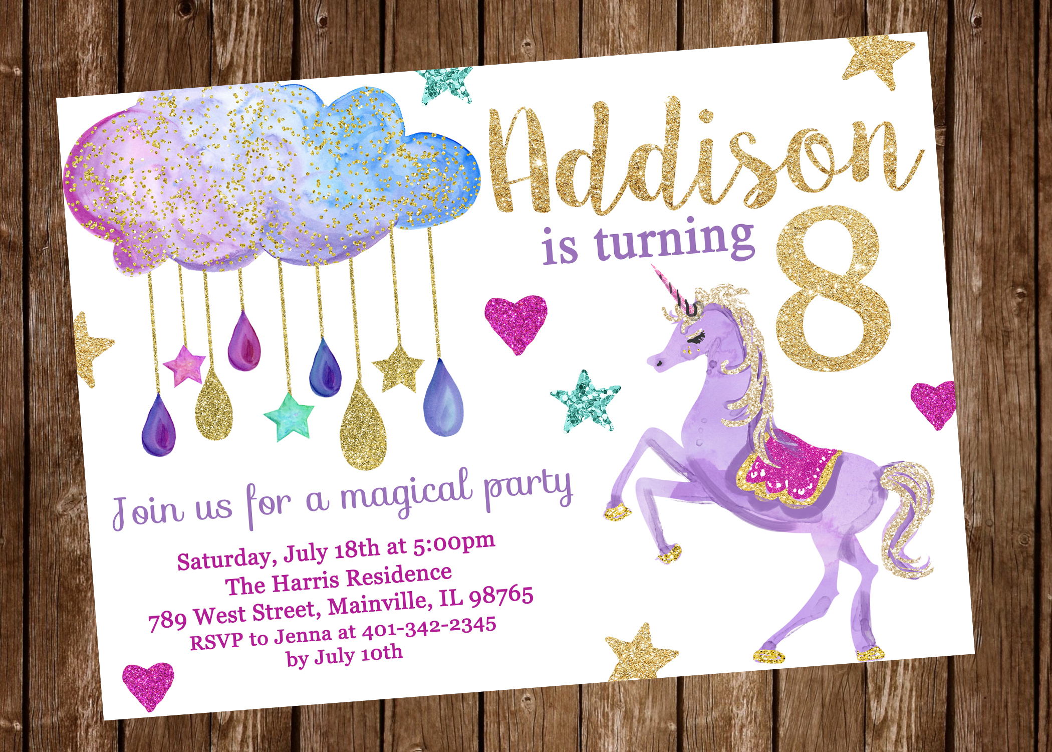 Unicorn Birthday Party Invitation Purple Stars Magical