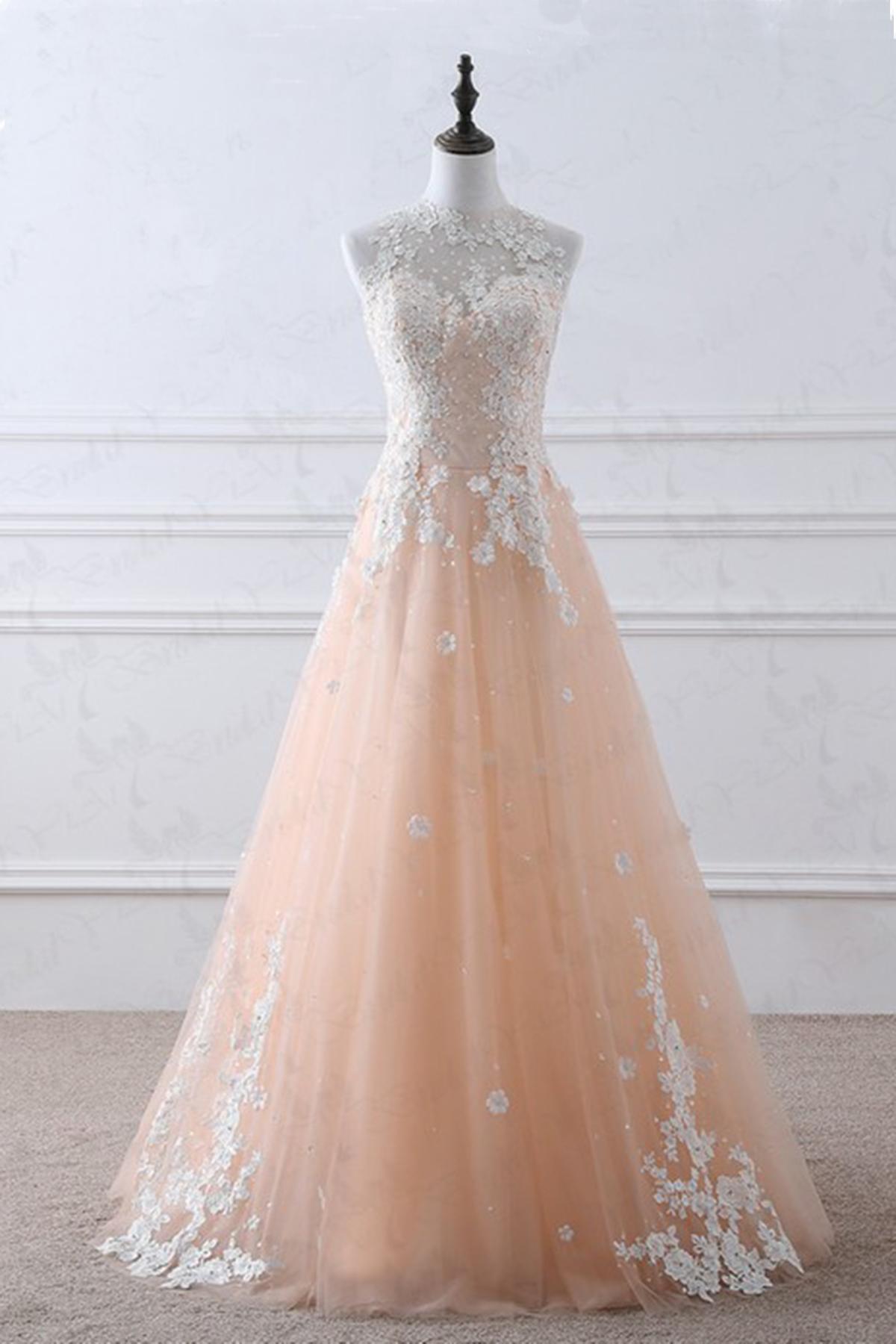 Blush Pink High Neck Long Flower Lace Appliqus Long Senior Prom