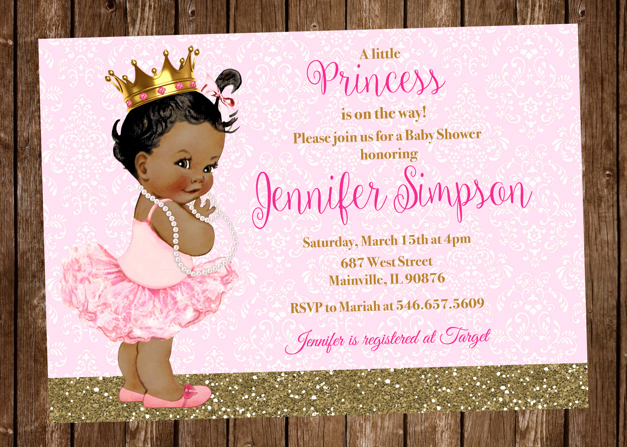 Princess Baby Shower Invitation Pink Gold Any Skin Tone Digital Or Printed On Storenvy