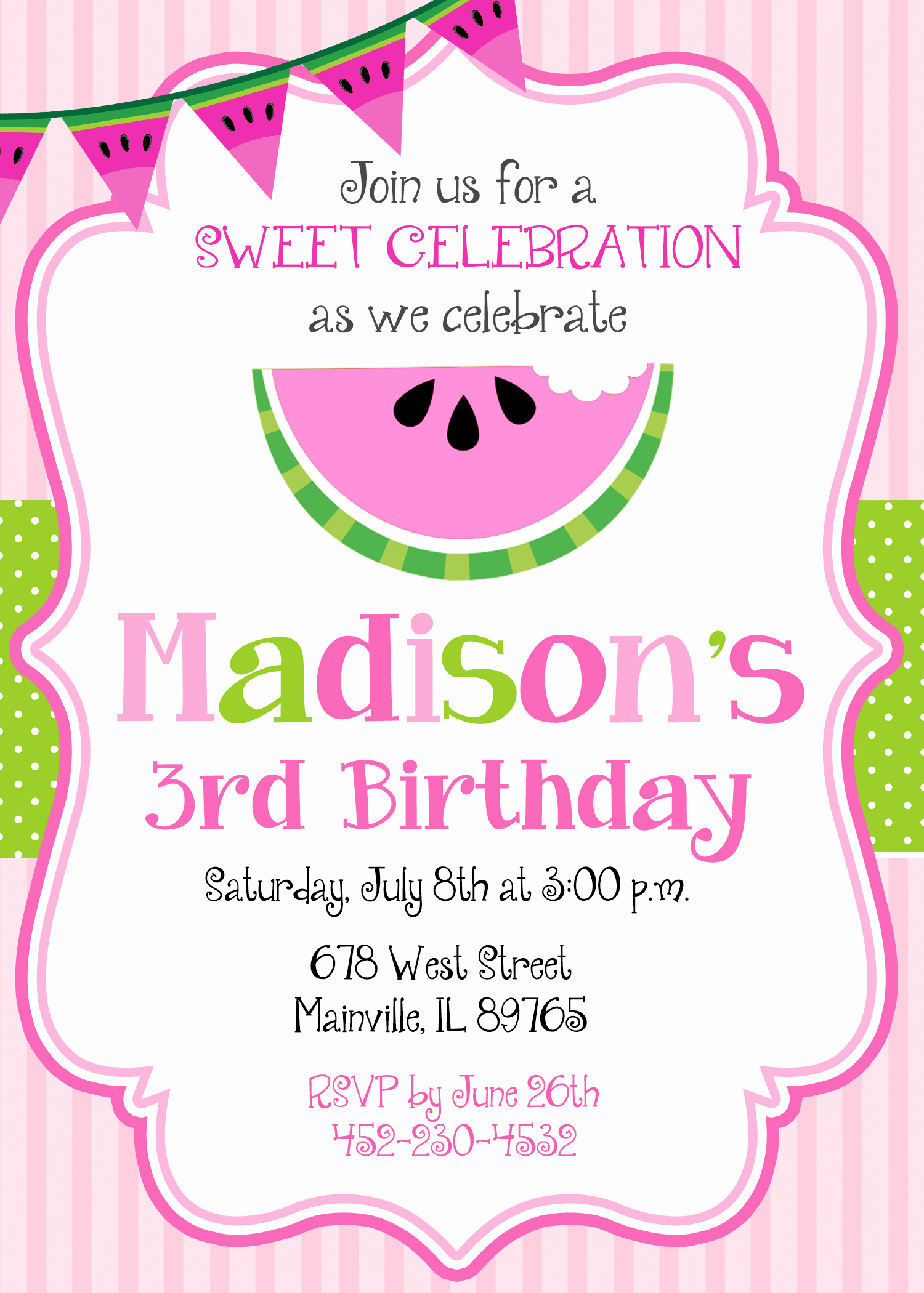 Watermelon Birthday Party Invitation, Watermelon, Melon, Fruit ...
