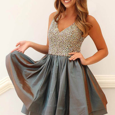 f7869efc7ec A338 Simple Two-Piece Pink Navy Blue Short Prom Homecoming Dress ...