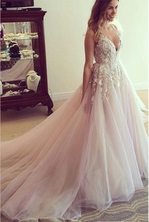 Fairy Wedding Dress.Deep V Neck Lace Tulle Prom Dress Fairy Lace Ball Gown Hc1781 From Didopromcouture