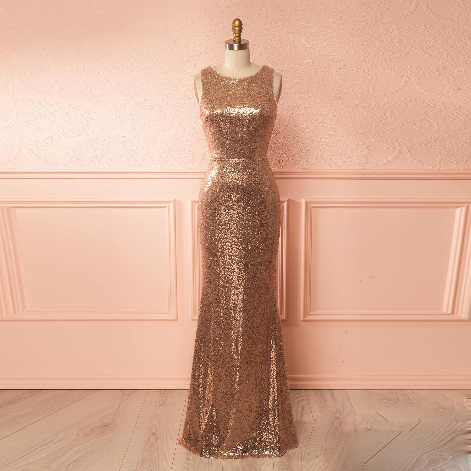 Rose 20gold 20sequin 20sleeveless 20mermaid 20prom 20dress original d4b5bc1d8