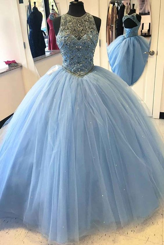 77c9c9401f4 Light blue tulle satin round neck beaded sequins open back ball gown prom  dresses graduation dress