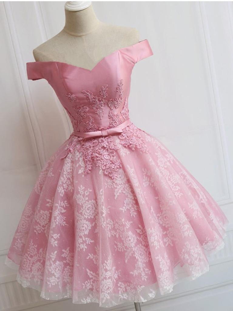 Elegant Prom Dress, Short Prom Dress, Appliques Homecoming Dress ...