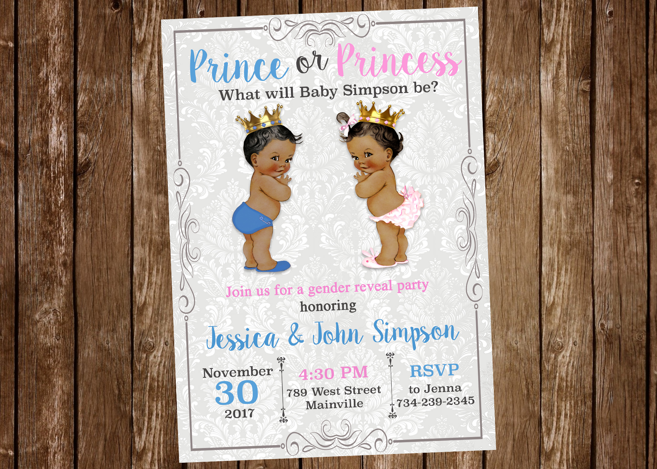 Prince Princess Gender Reveal Invitation - ANY SKIN TONE - Digital ...