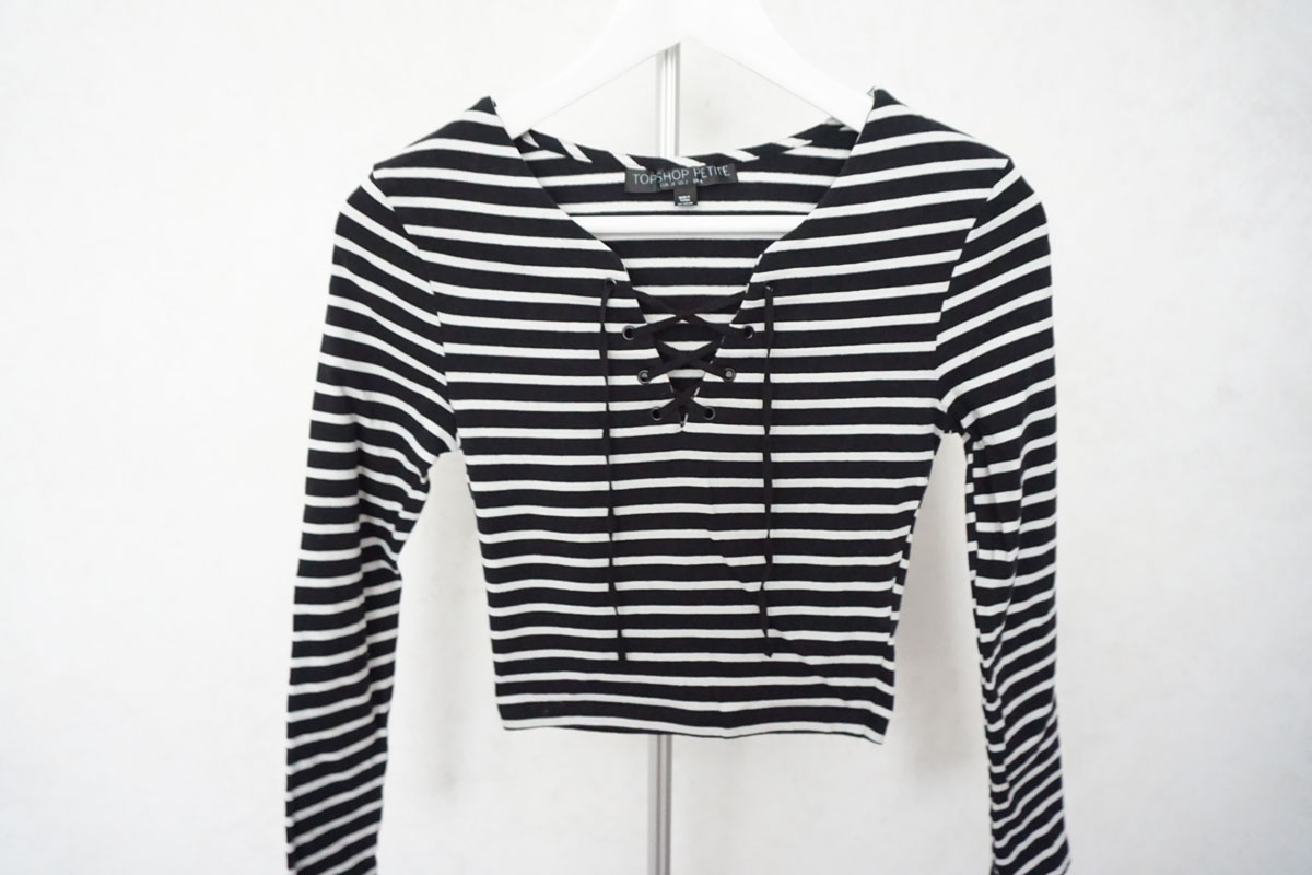 329d584d Topshop Petite Striped Lace-Up T-Shirt · The Style Closet · Online ...