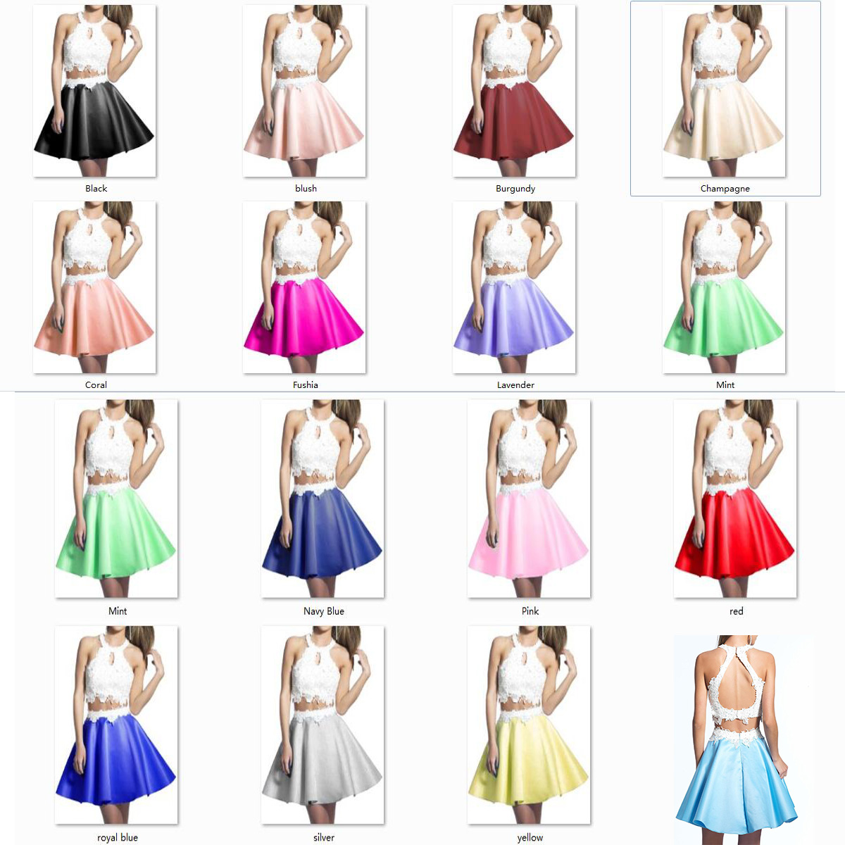 b0c790a540b LoliPromDress Free Shipping Two Piece Short Prom Dress Round Neck Lace  Homecoming Dress Cocktail Party Dress on Storenvy
