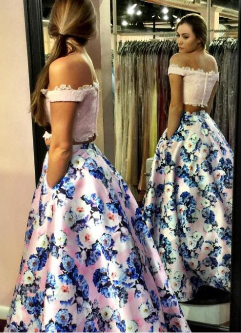 Fashion Two Piece Pink Prom Dress - Off the