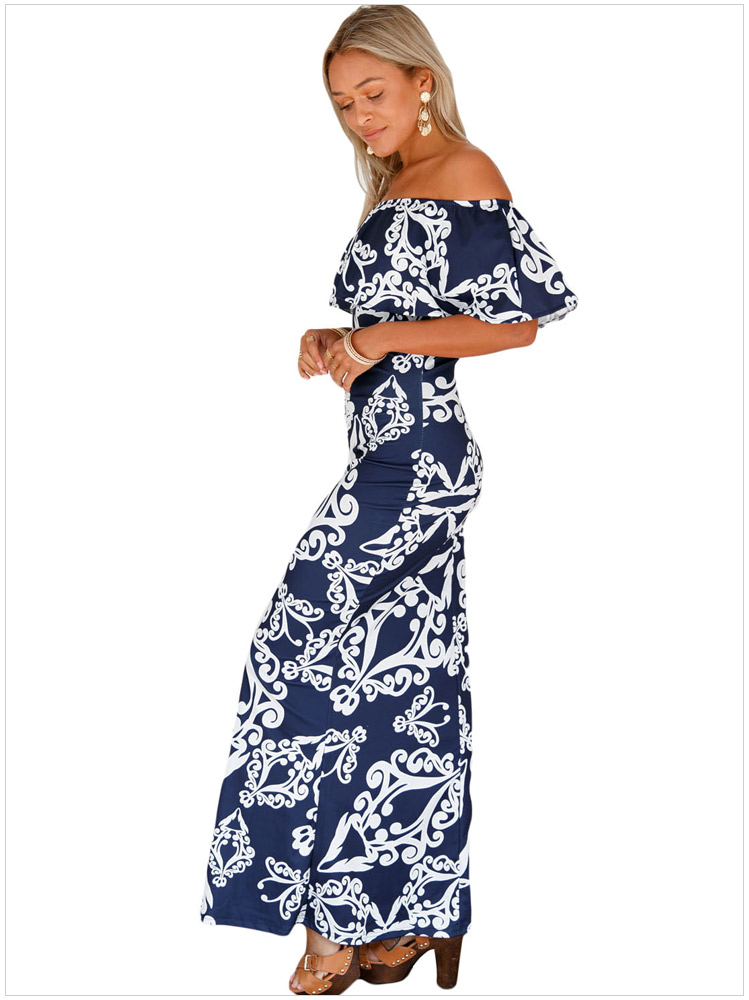 561b7c4eb233 Sexy Woman Strapless Maxi Long Ruffle Summer Party Clubwear Elegant  Sundress Slash Neck Hot Dresses SYD86E ...