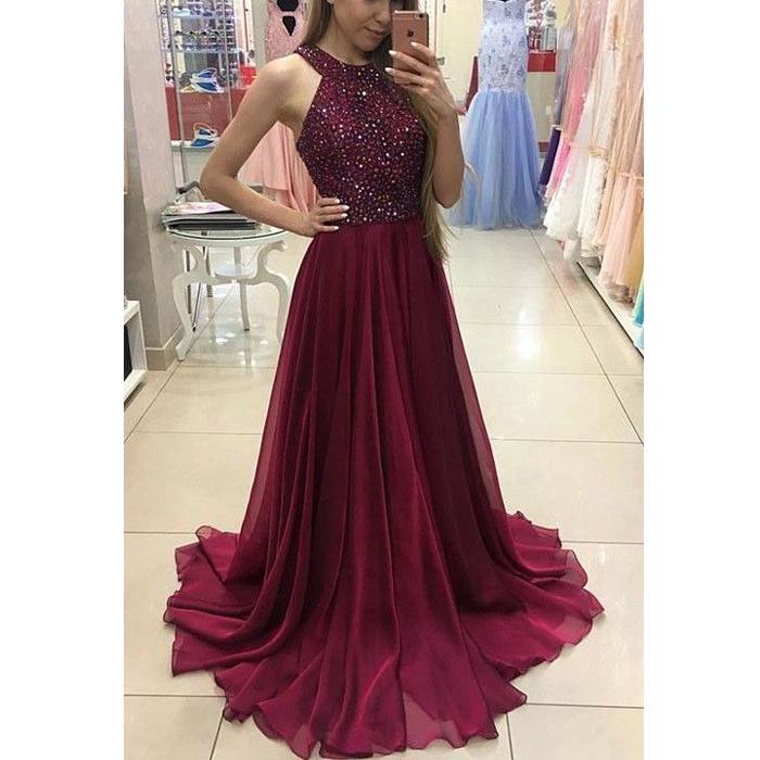 Long prom dress, beading prom dress, burgundy prom dress, online ...