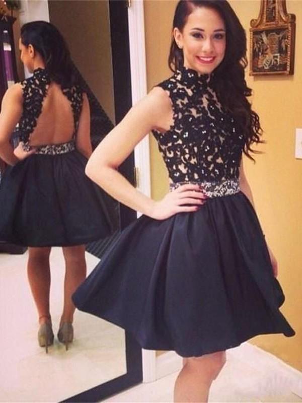 942dba557b28ae A-Line/Princess Black Sleeveless Lace High Neck Taffeta Short/Mini Prom  Dresses