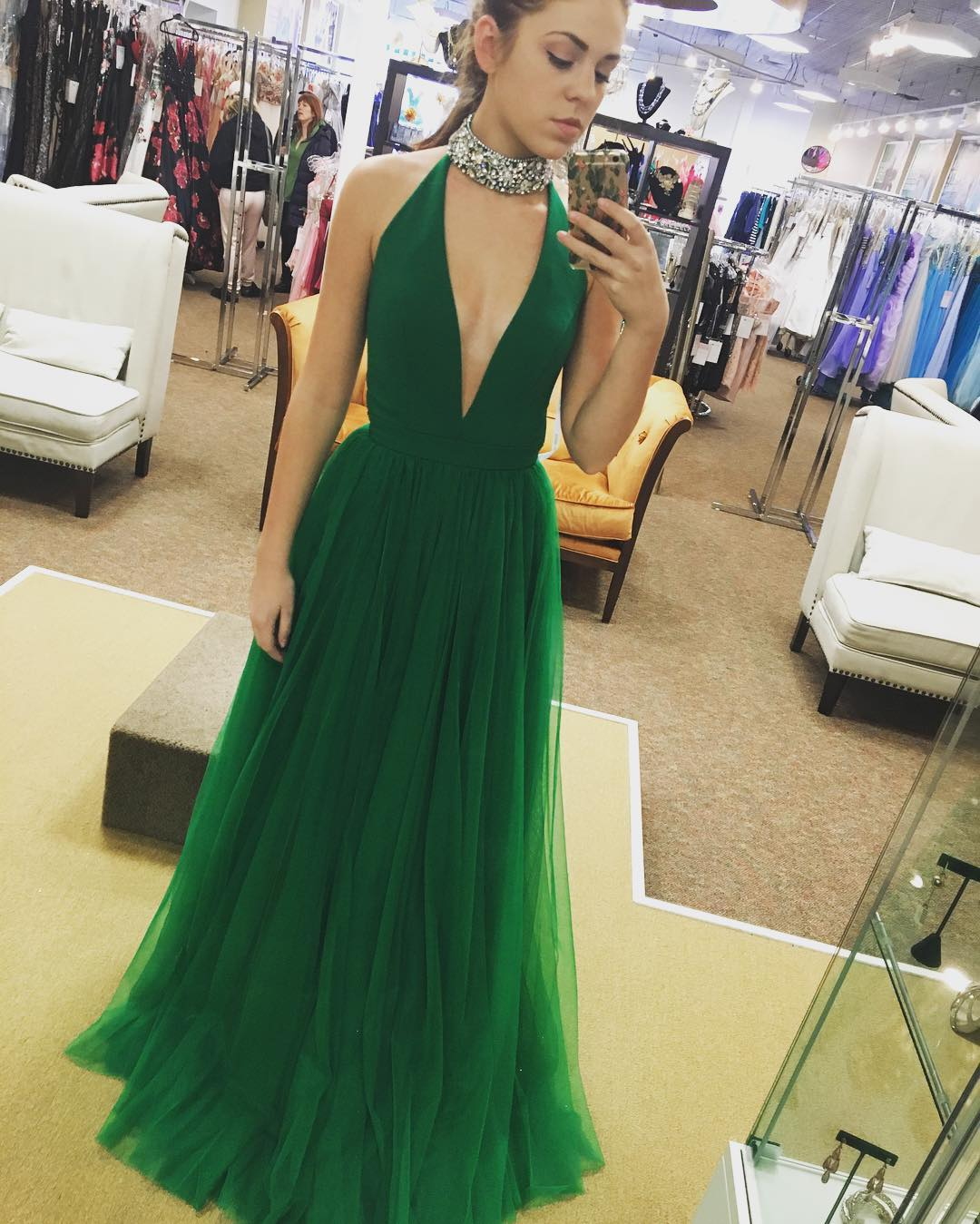 00ee0c91caf Simple green deep v neck tulle long prom dress