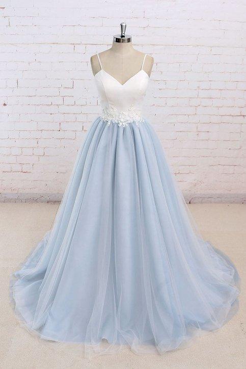 A Line Prom Dresses Light Blue Prom Dresses Backless Prom