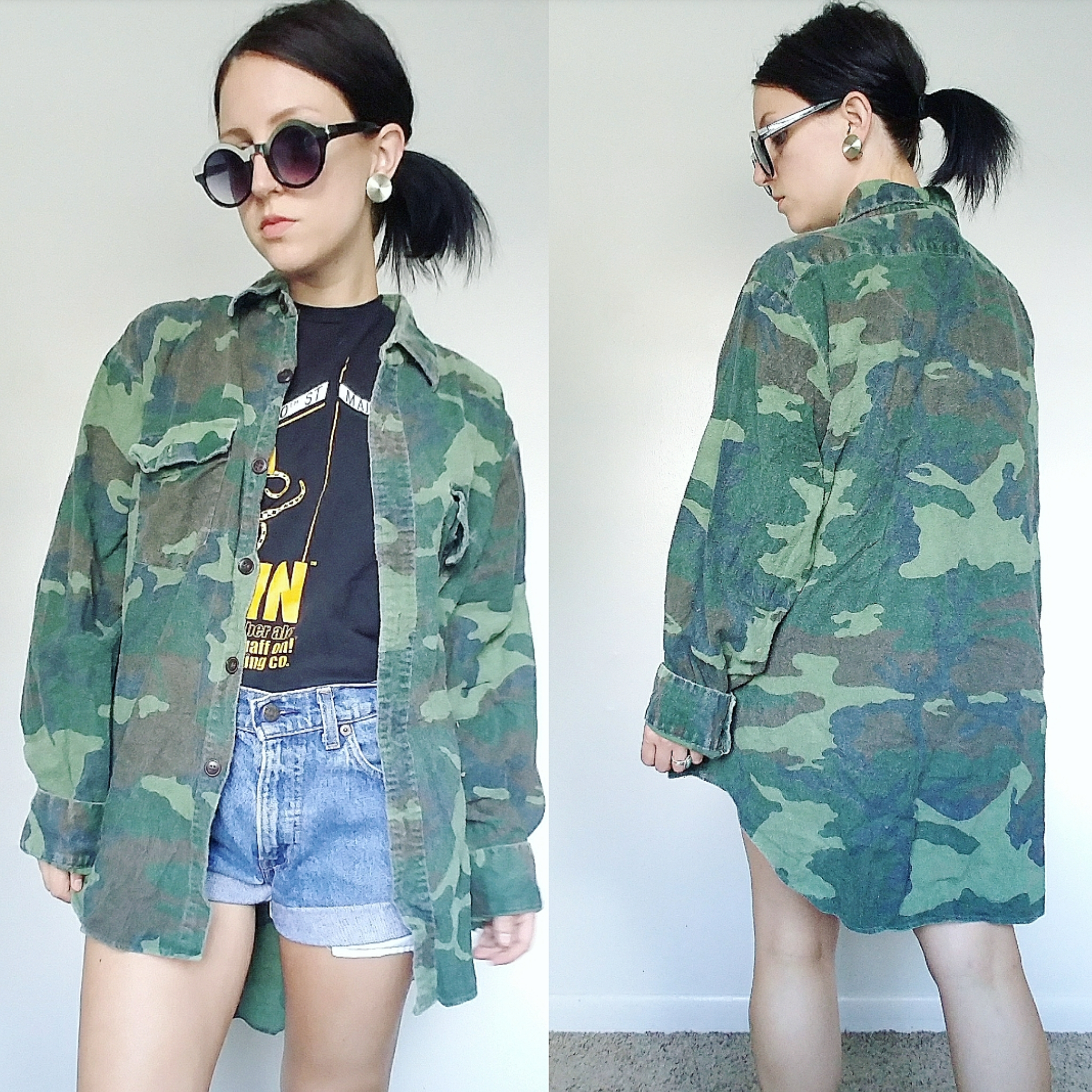 60c926f2 1970's ARMY Camo Shirt - Vintage Unisex Grunge Button Up Shirt on ...